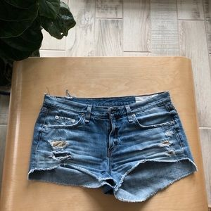 Rag & Bone Destroyed Cutoff Denim Shorts